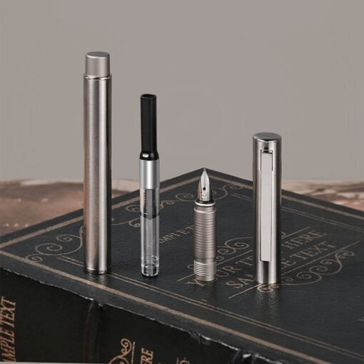 HongDian 516S Stainless Steel Fountain Pen Fine Nib Retro Silver Student Office Practice Supplies Writing Pens 2