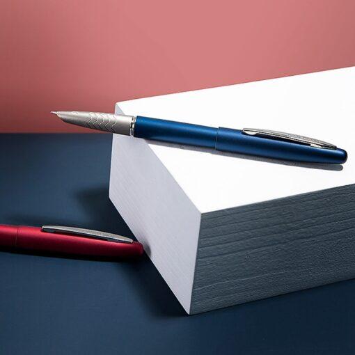 HongDian 617 Fountain Pen ink Full Metal Clip Pens Stainless Steel Red Black Classic EF Nib 2