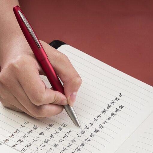 HongDian 617 Fountain Pen ink Full Metal Clip Pens Stainless Steel Red Black Classic EF Nib 5