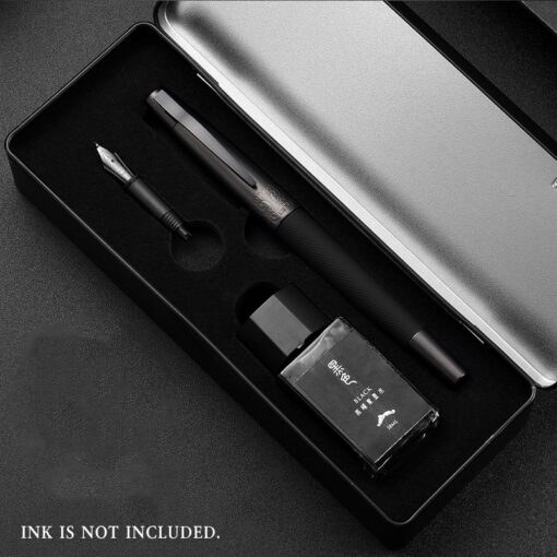 HongDian Fountain Pen Full Metal Clip Pens Stainless Steel Titanium Black Army General Fountain Pen Nib 2