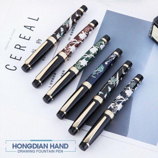 HongDian Hand Drawing Fountain Pen Blue Magpie Nib 0 5MM Nib Fountain Pens Gift Office Business 3