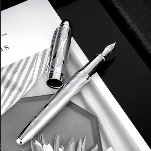 HongDian Printing Stainless Steel Fountain Pen Fine Nib Retro Silver Student Office Practice Supply Writing Pens 1