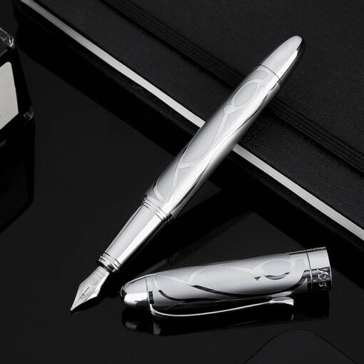 HongDian Printing Stainless Steel Fountain Pen Fine Nib Retro Silver Student Office Practice Supply Writing Pens 2