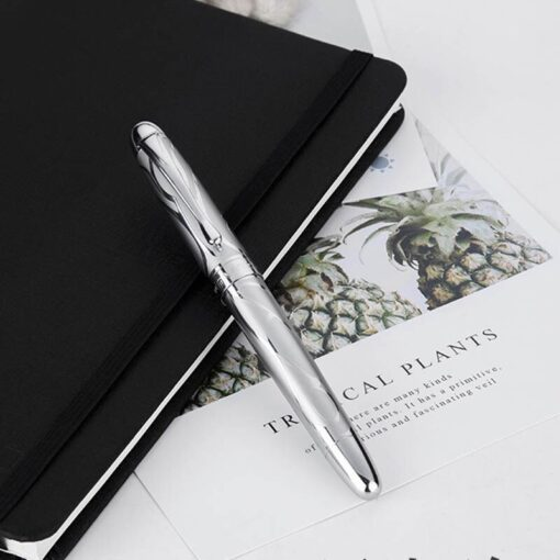 HongDian Printing Stainless Steel Fountain Pen Fine Nib Retro Silver Student Office Practice Supply Writing Pens 3