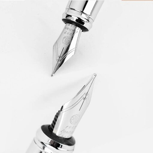 HongDian Printing Stainless Steel Fountain Pen Fine Nib Retro Silver Student Office Practice Supply Writing Pens 4