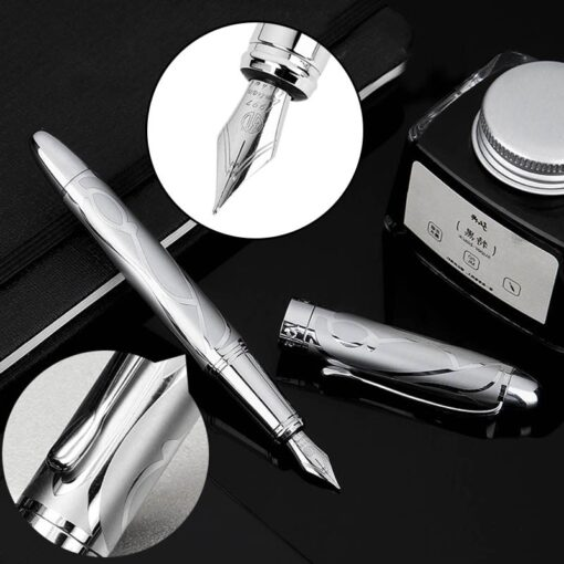 HongDian Printing Stainless Steel Fountain Pen Fine Nib Retro Silver Student Office Practice Supply Writing Pens