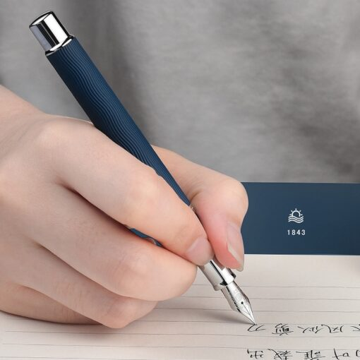 HongDian Wave Pattern Stainless Fountain Pen Iridium EF F Nib Classic Pen Gift 2