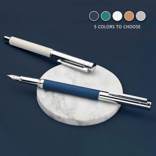 HongDian Wave Pattern Stainless Fountain Pen Iridium EF F Nib Classic Pen Gift 4