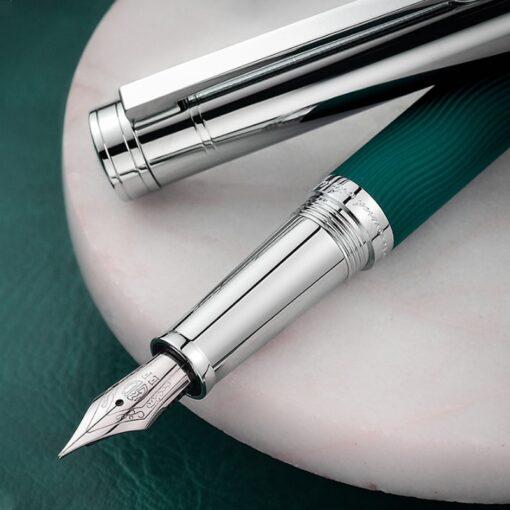 HongDian Wave Pattern Stainless Fountain Pen Iridium EF F Nib Classic Pen Gift