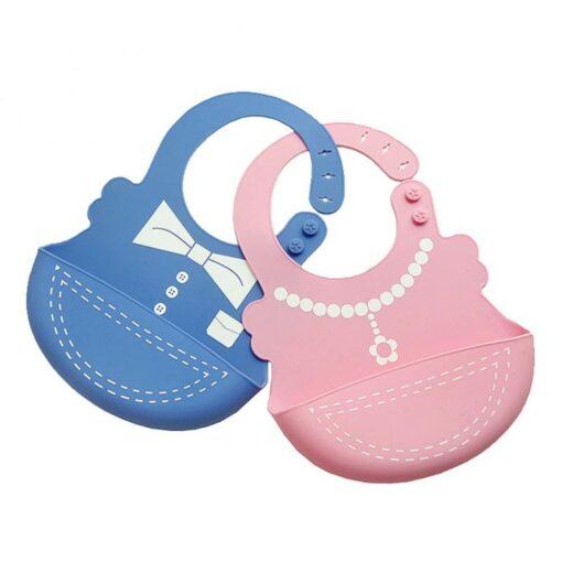 Hot Baby Bib Adjustable Clothes Pattern Waterproof Saliva Dripping Bibs Waterproof Soft Silicone Oil proof Newborn 2