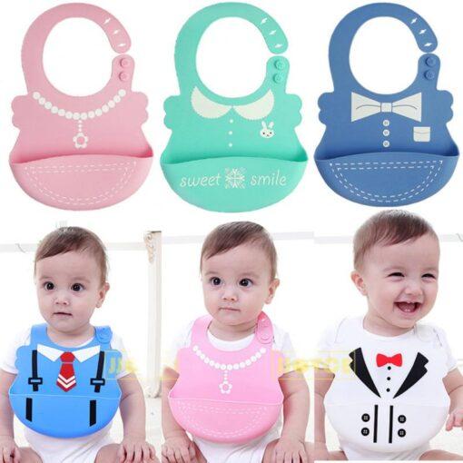 Hot Baby Bib Adjustable Clothes Pattern Waterproof Saliva Dripping Bibs Waterproof Soft Silicone Oil proof Newborn