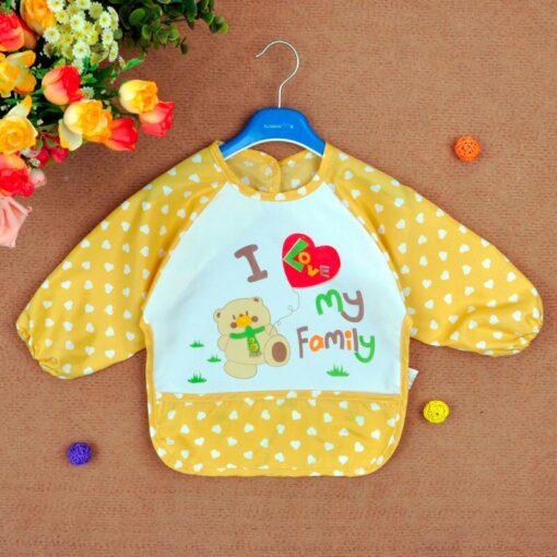 Hot Baby Bib Toddler Boy Girl Long Sleeve Letter Waterproof Feeding Art Apron Bib Baby Stuff 1