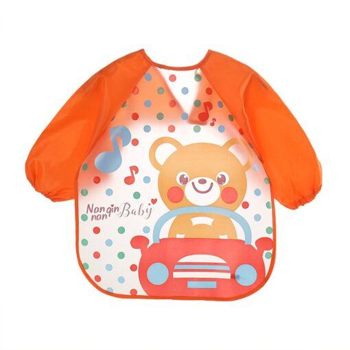 Hot Baby Bibs Cute Cartoon Animals Waterproof Colorful Children Bib Full Sleeve Bibs Children Apron Long 4