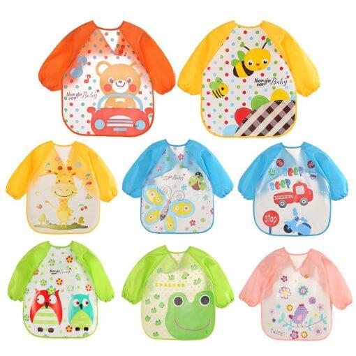 Hot Baby Bibs Cute Cartoon Animals Waterproof Colorful Children Bib Full Sleeve Bibs Children Apron Long