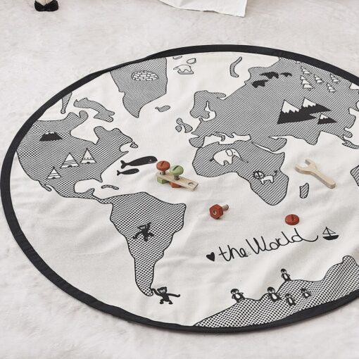 Hot Baby Play Mats Game Racing Mat Cotton Kids Crawling Carpet Sleep Bed world map Print 5