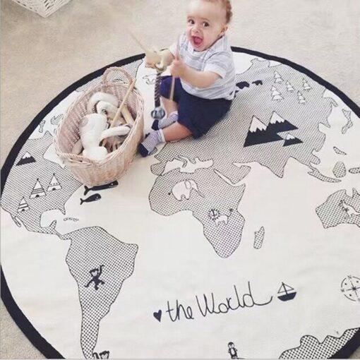 Hot Baby Play Mats Game Racing Mat Cotton Kids Crawling Carpet Sleep Bed world map Print