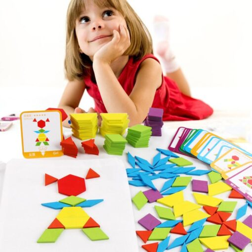 Hot Sale 155 Tangram Wooden Jigsaw Set Toys Color Diy Puzzle Jigsaw Puzzle Building Blocks Puzzle 2