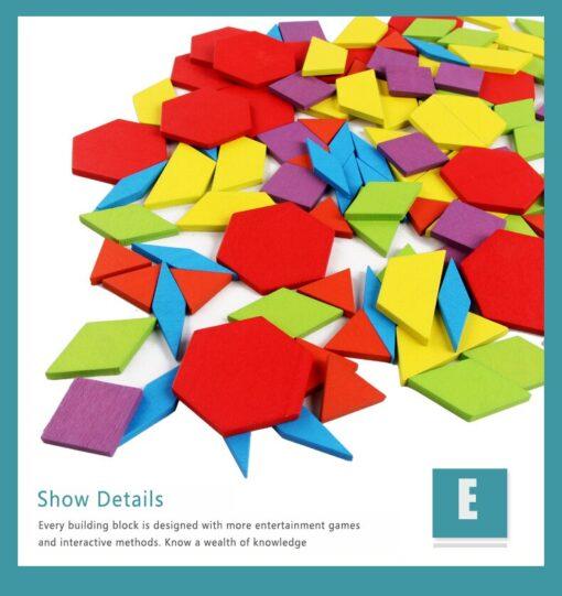 Hot Sale 155 Tangram Wooden Jigsaw Set Toys Color Diy Puzzle Jigsaw Puzzle Building Blocks Puzzle 4