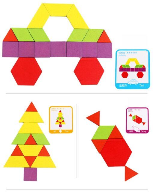 Hot Sale 155 Tangram Wooden Jigsaw Set Toys Color Diy Puzzle Jigsaw Puzzle Building Blocks Puzzle 5