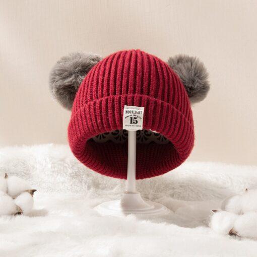 Hot Sale Baby Pom Pom Hat Infant Kids Beanie For Boys Girls Cap Doll Knitted Winter 3