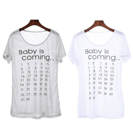 Hot Sale Baby is Coming Maternity T Shirt Tops Mama Clothes Women Calendar Countdown Pregnancy Tee 5