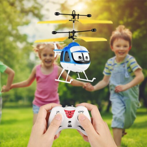Induction Flying Toys RC Helicopter Cartoon Remote Control Drone For Kid Plane Floating Toys With Flashing