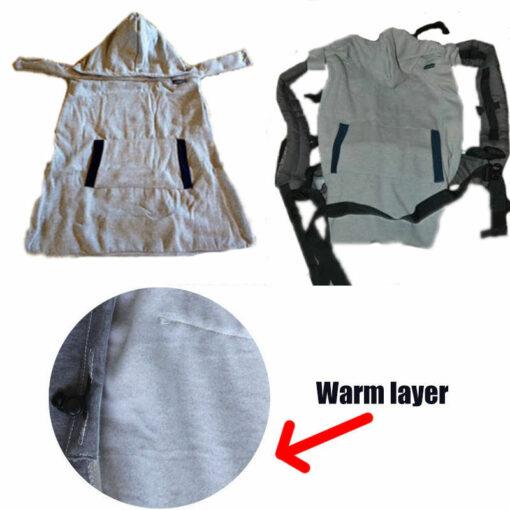 Infant Baby Carrier Wrap Comfort Sling Winter Warm Cover Cloak Blanket Grey Backpacks Carrier 4