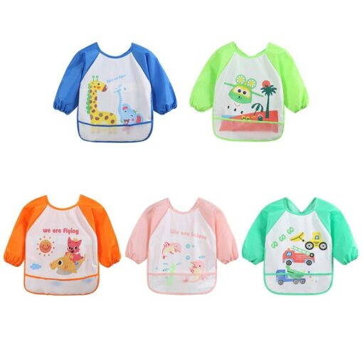 Infant Baby Waterproof Long Sleeved Bib Burp Cloths Newborn Toddler Kids Cloths Cartoon Smock Feeding Accessories 1