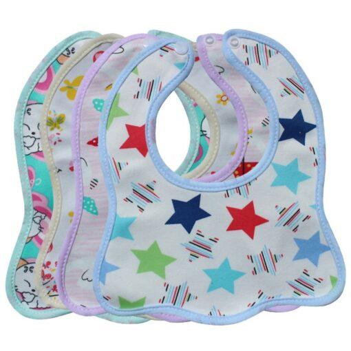 Infant Bib Cartoon Printing Cotton Snap on Waterproof Anti dirty Baby Bib Children Print Saliva Towel 1