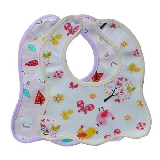 Infant Bib Cartoon Printing Cotton Snap on Waterproof Anti dirty Baby Bib Children Print Saliva Towel 2