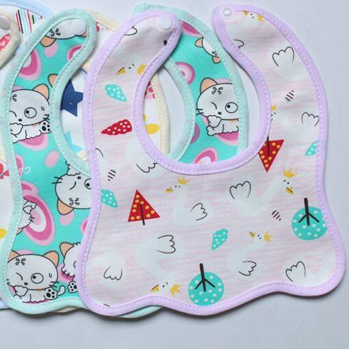 Infant Bib Cartoon Printing Cotton Snap on Waterproof Anti dirty Baby Bib Children Print Saliva Towel 3