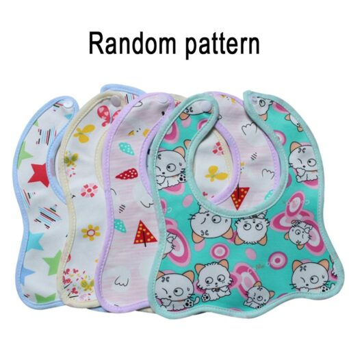 Infant Bib Cartoon Printing Cotton Snap on Waterproof Anti dirty Baby Bib Children Print Saliva Towel