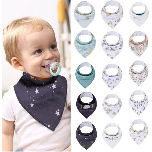 Infant Newborn Baby Cartoon Feeding Cloth Bib Infant Folding Triangles Scarf Bibs Burp Cloths Cartoon Eating