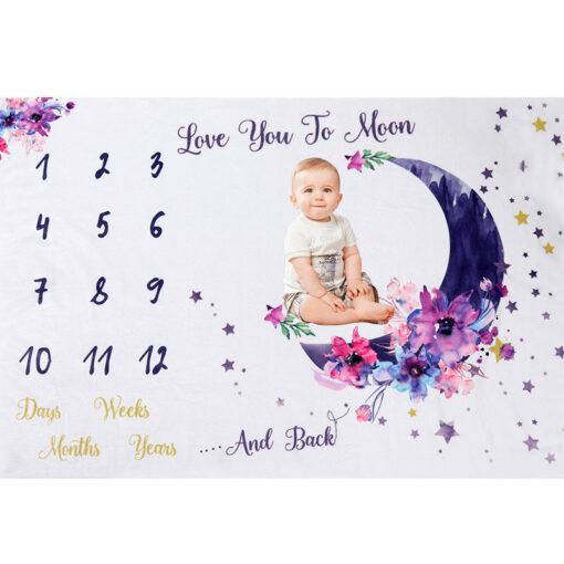 Infant Photography Props Blanket Soft Fleece Newborn Baby Monthly Growth Milestone Background Photo Props Stroller Blanket