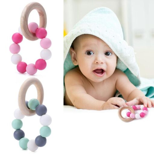 Infant Silicone Chew Nursing Bracelet for Baby Wooden Teethers Baby Rattle Stroller Accessories Toys 2