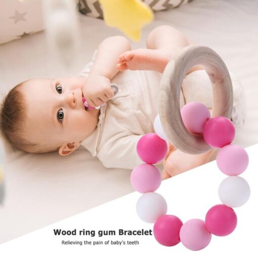 Infant Silicone Chew Nursing Bracelet for Baby Wooden Teethers Baby Rattle Stroller Accessories Toys 3