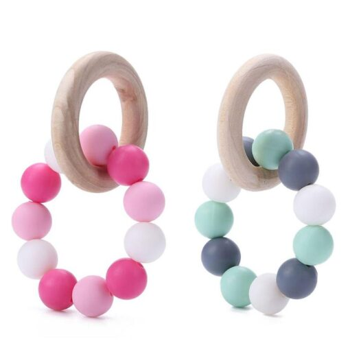 Infant Silicone Chew Nursing Bracelet for Baby Wooden Teethers Baby Rattle Stroller Accessories Toys