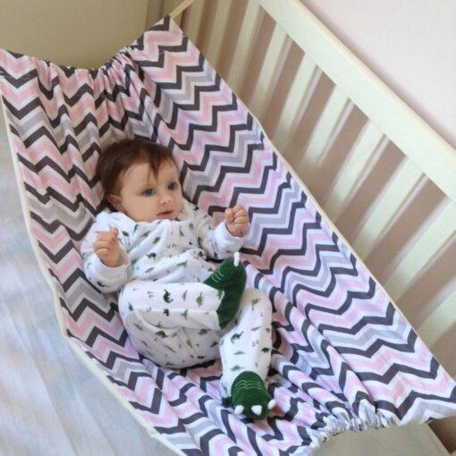 Infant baby hammock folding crib sleeping bed newborn Kid toddler elastic swing hammock with adjustable net 1