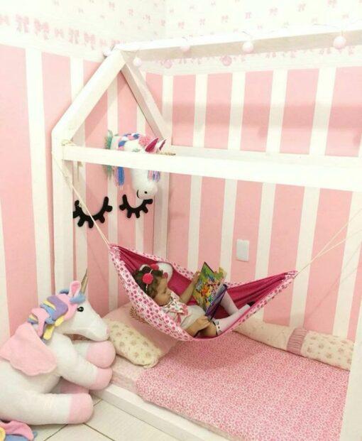 Infant baby hammock folding crib sleeping bed newborn Kid toddler elastic swing hammock with adjustable net