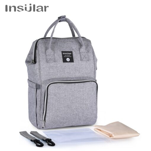 Insular Brand Nappy Backpack Bag Mummy Large Capacity Stroller Bag Mom Baby Multi function Waterproof Outdoor 1