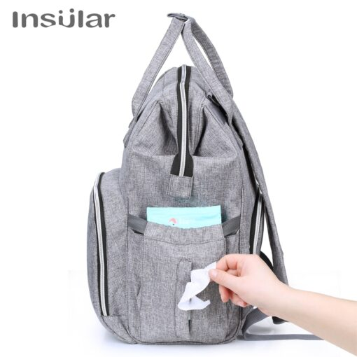 Insular Brand Nappy Backpack Bag Mummy Large Capacity Stroller Bag Mom Baby Multi function Waterproof Outdoor 3