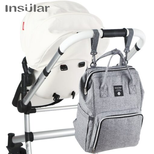 Insular Brand Nappy Backpack Bag Mummy Large Capacity Stroller Bag Mom Baby Multi function Waterproof Outdoor
