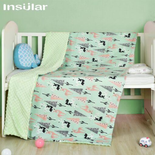 Insular Cartoon Baby Blanket Swaddle Newborn Soft Bubble Flannel Baby Stroller Receiving Blankets Solid Bedding Set 1