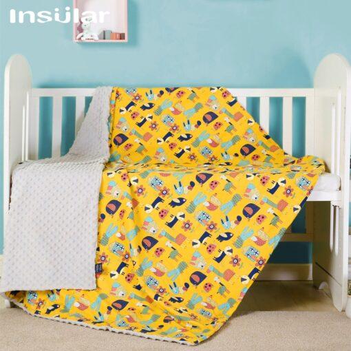 Insular Cartoon Baby Blanket Swaddle Newborn Soft Bubble Flannel Baby Stroller Receiving Blankets Solid Bedding Set 2