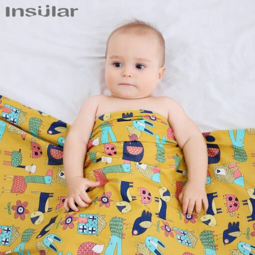 Insular Cartoon Baby Blanket Swaddle Newborn Soft Bubble Flannel Baby Stroller Receiving Blankets Solid Bedding Set 4