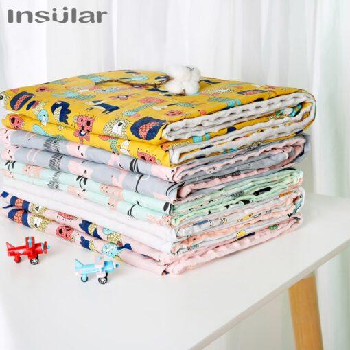 Insular Cartoon Baby Blanket Swaddle Newborn Soft Bubble Flannel Baby Stroller Receiving Blankets Solid Bedding Set 5