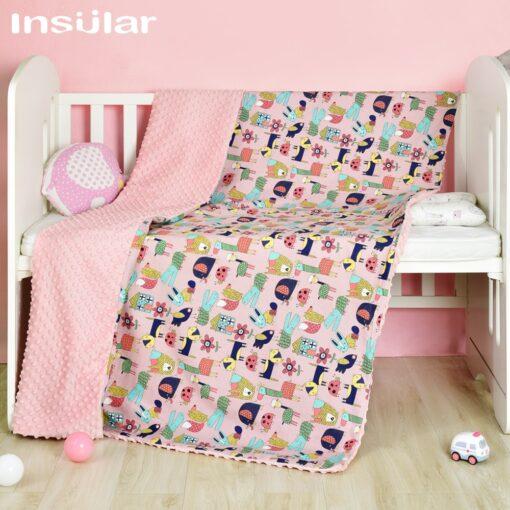 Insular Cartoon Baby Blanket Swaddle Newborn Soft Bubble Flannel Baby Stroller Receiving Blankets Solid Bedding Set