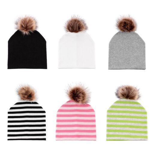 JOCESTYLE Cute Baby Children Hat Boys Girls Cap Cotton Faux Fur Pompom Solid Color Stripe Warm 1