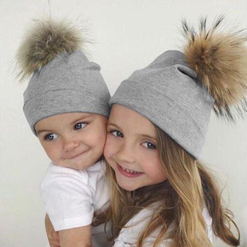 JOCESTYLE Cute Baby Children Hat Boys Girls Cap Cotton Faux Fur Pompom Solid Color Stripe Warm 2