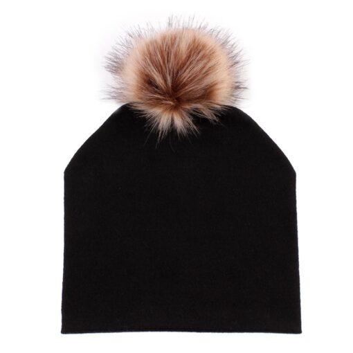 JOCESTYLE Cute Baby Children Hat Boys Girls Cap Cotton Faux Fur Pompom Solid Color Stripe Warm 3